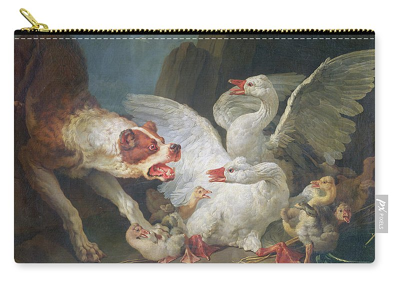 Goose Carry-all Pouch featuring the photograph A Dog Attacking Geese, 1769 Oil On Canvas by Jean-Baptiste Huet