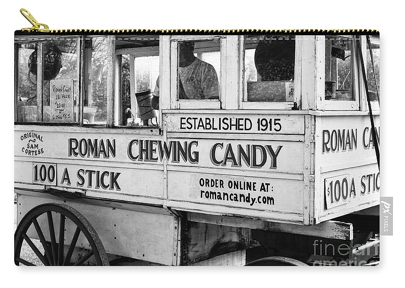 Kathleen K Parker Fine Art Carry-all Pouch featuring the photograph A Dollar A Stick Roman Chewing Candy In Bw by Kathleen K Parker