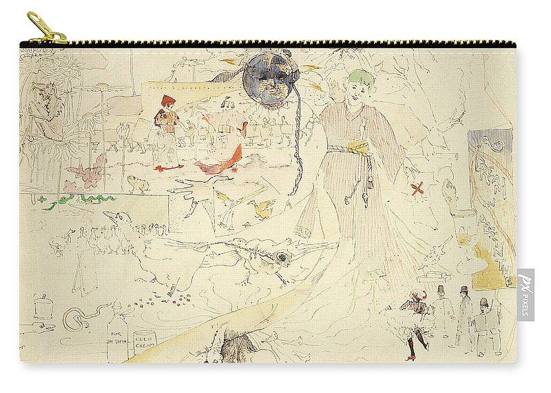 Dreams Carry-all Pouch featuring the drawing A Dream In Absinthe, 1890 by Charles Edward Conder