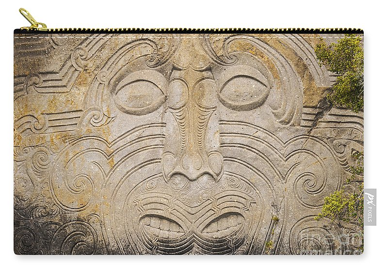 Lake Taupo New Zealand Maori Rock Carving Rocks Lakes Carvings Art Artwork Matahi Whakataka-brightwell Landmark Landmarks Carry-all Pouch featuring the photograph A Face In The Rock by Bob Phillips