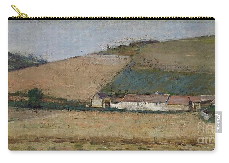 Landscape Carry-all Pouch featuring the painting A Farm Among Hills by Theodore Robinson