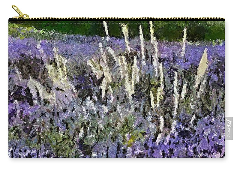 Field Carry-all Pouch featuring the painting A Field Of Lavender by Dragica Micki Fortuna