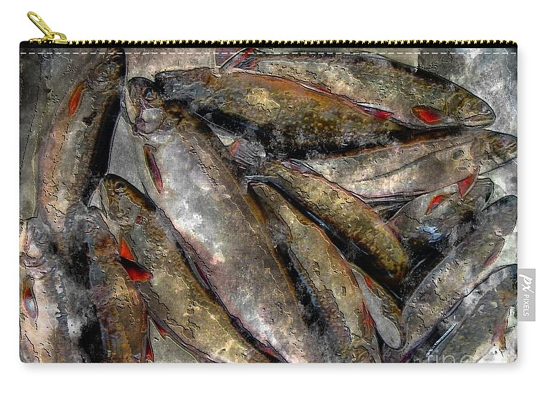 A Fine Catch Of Trout Carry-all Pouch featuring the photograph A Fine Catch Of Trout - Steel Engraving by Barbara Griffin