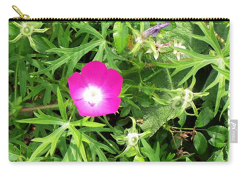 Flower Carry-all Pouch featuring the photograph A Flower Amongst The Green... by Tim Fillingim