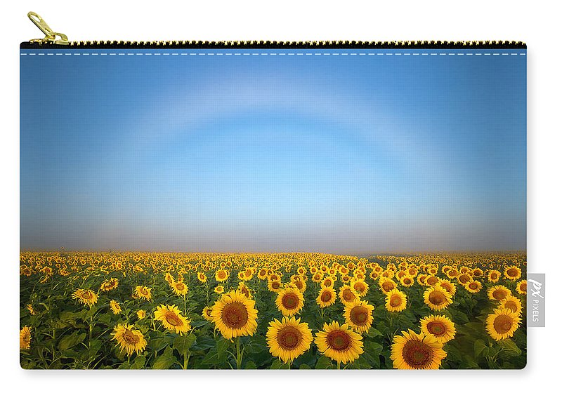 Fog Bow Carry-all Pouch featuring the photograph A Fog Bow Over The Colorado Sunflower Fields by Ronda Kimbrow