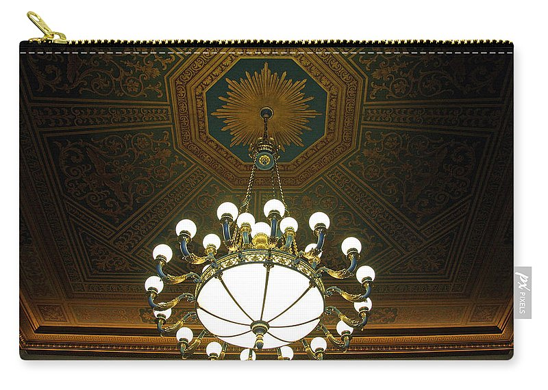Chandelier Carry-all Pouch featuring the photograph A Franklin Chandelier by Cora Wandel
