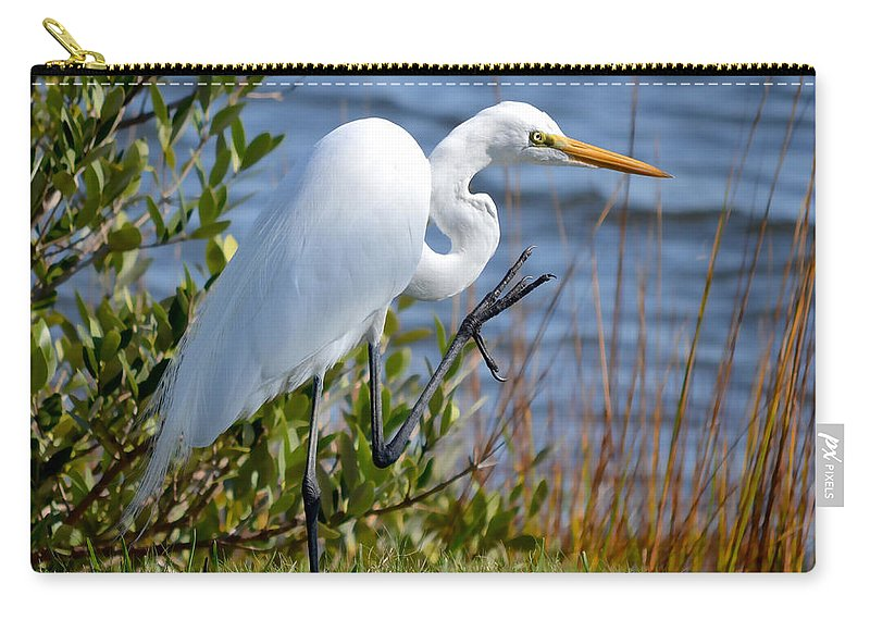 Egret Carry-all Pouch featuring the photograph A Friendly Wave by DigiArt Diaries by Vicky B Fuller