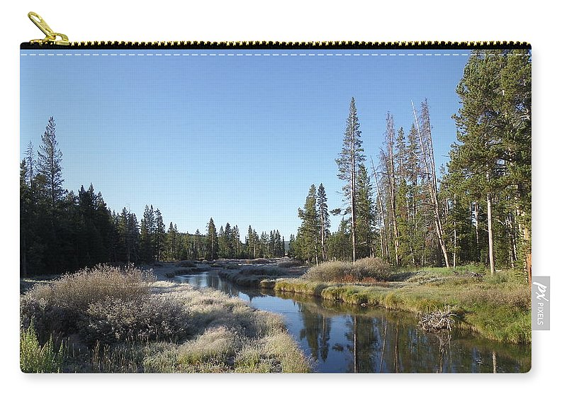 Blue Carry-all Pouch featuring the photograph A Frosty Morning Along Obsidian Creek by Frank Madia