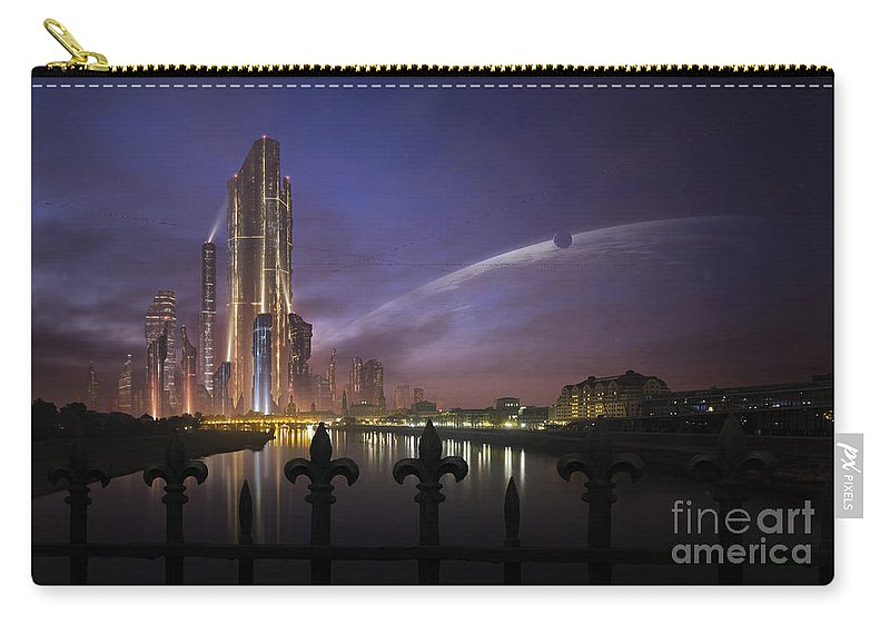 Horizontal Carry-all Pouch featuring the digital art A Futuristic City On An by Tobias Roetsch