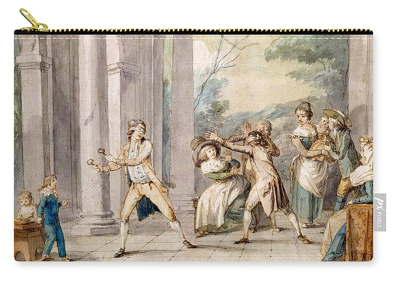 Game Carry-all Pouch featuring the drawing A Game Of Blind Mans Buff, C.late C18th by George Morland