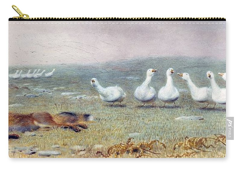 Game Carry-all Pouch featuring the drawing A Game Of Fox And Geese, 1868 by Briton Riviere
