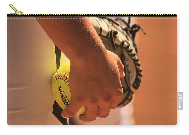 Pitcher Carry-all Pouch featuring the photograph A Game Of Nuance by Laddie Halupa