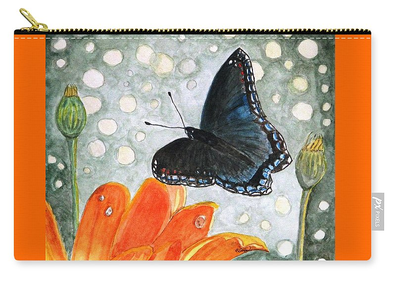Watercolor Carry-all Pouch featuring the painting A Garden Visitor by Angela Davies