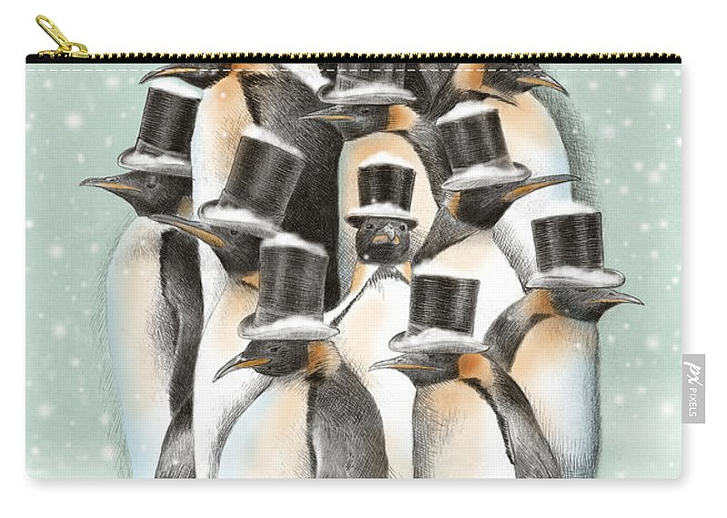 Penguins Carry-all Pouch featuring the drawing A Gathering in the Snow by Eric Fan