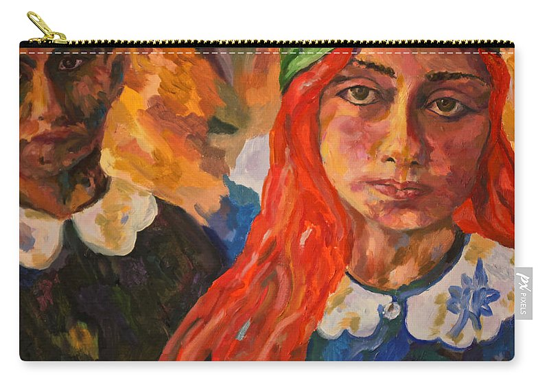 Original Oil On Canvas Carry-all Pouch featuring the painting A Girl's View Of War 2 by Michael Cinnamond