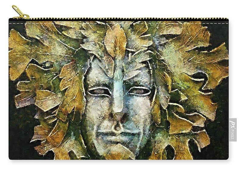 Venetian Carnival Mask Carry-all Pouch featuring the painting A Green Man by Dragica Micki Fortuna