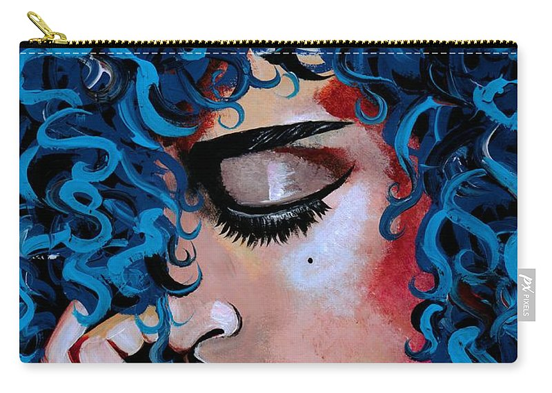 Model Carry-all Pouch featuring the photograph A Happy Woman is a Satisfied Woman by Artist RiA