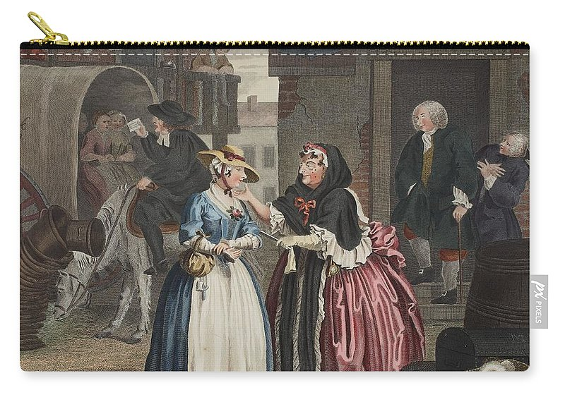 Moll Hackabout Carry-all Pouch featuring the drawing A Harlots Progress, Plate I by William Hogarth