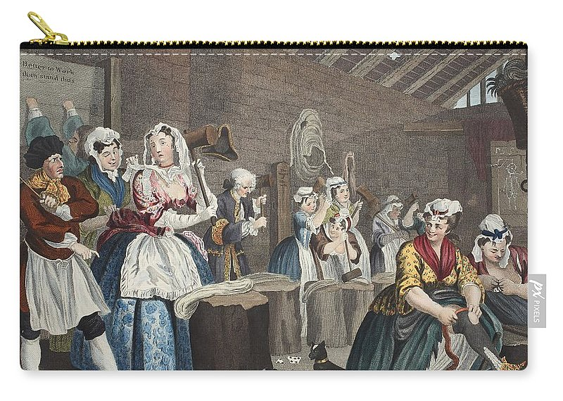 Penitentiary Carry-all Pouch featuring the drawing A Harlots Progress, Plate Lv Scene by William Hogarth