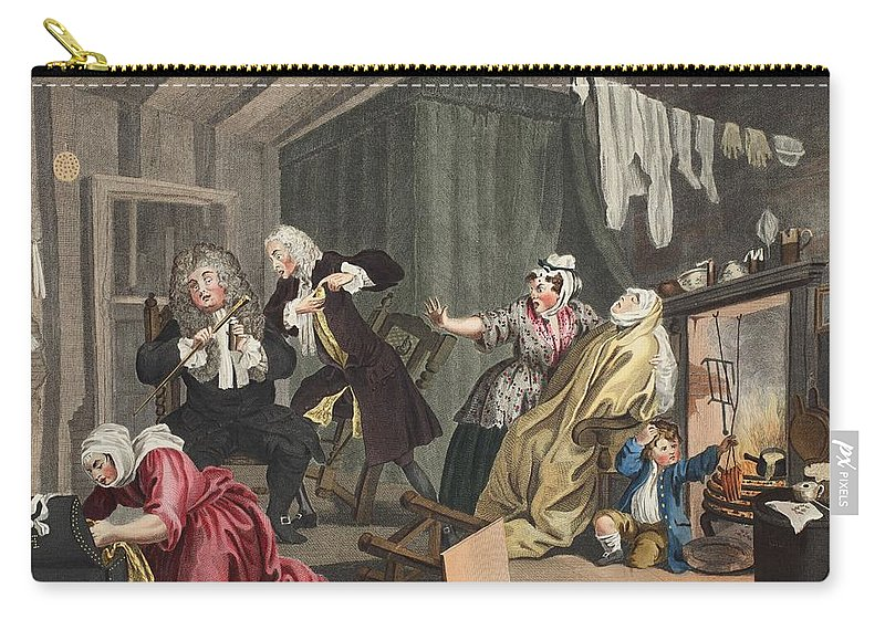 Death Carry-all Pouch featuring the drawing A Harlots Progress, Plate V by William Hogarth