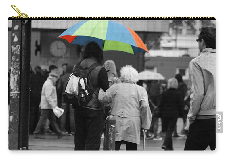 People Berlin Rain Rainy Old Woman Help Helping Hand Umbrella Word Time Clock Carry-all Pouch featuring the photograph A Helping Hand by Steve K