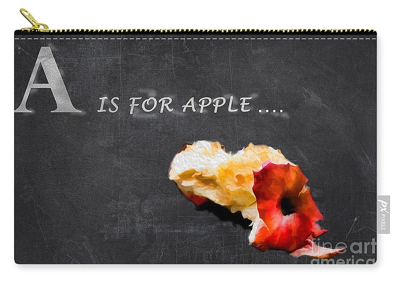 Chalkboard Carry-all Pouch featuring the photograph A Is For Apple by Gillian Singleton