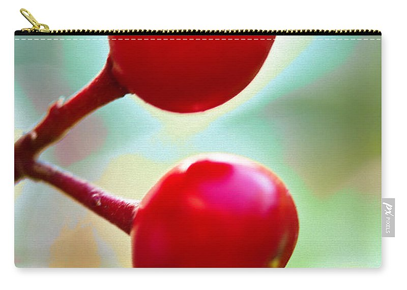Red Berries Carry-all Pouch featuring the photograph A Kiss Of Spring  A Promise Of Summer by Marie Jamieson