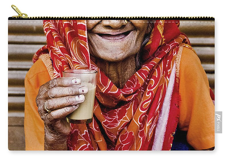 Valerie Rosen Carry-all Pouch featuring the photograph A Lady And Her Chai II by Valerie Rosen