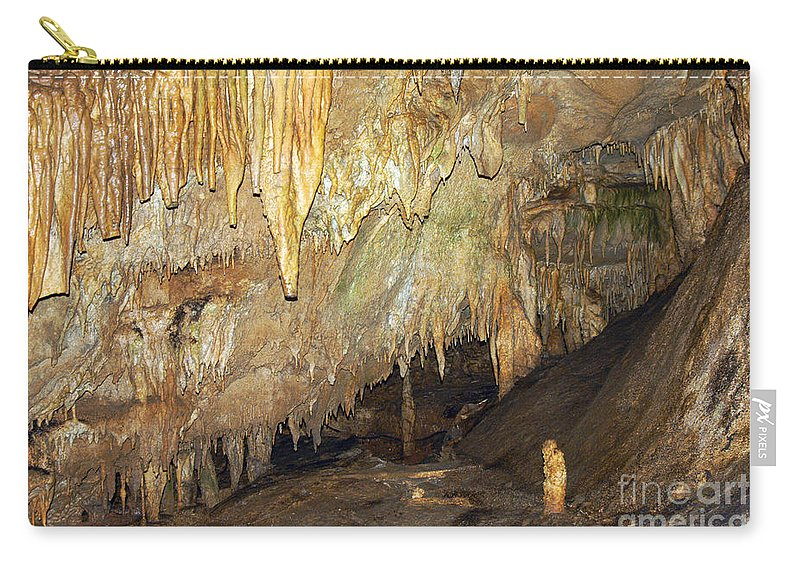 Mammoth Cave National Park Kentucky Caves Cavern Caverns Stalactite Stalactites Stalagmite Stalagmites Rock Formation Formations Parks Underground Carry-all Pouch featuring the photograph A Little One by Bob Phillips
