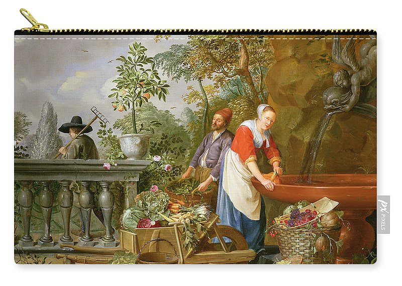 Carrot Carry-all Pouch featuring the painting A Maid Washing Carrots At A Fountain by Nicolaas or Nicolaes Muys