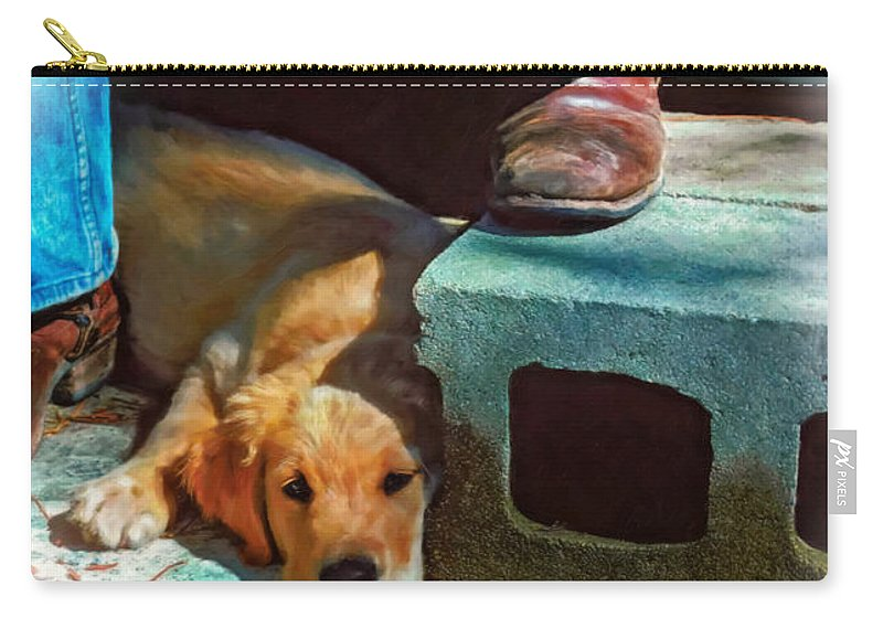 Dog Carry-all Pouch featuring the photograph A Man And His Dog Oil by Steve Harrington