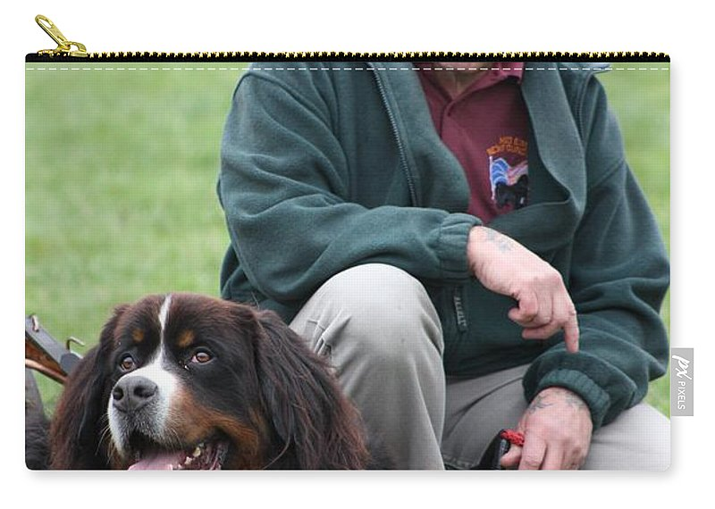 Bernese Carry-all Pouch featuring the photograph A Man And His Dog by Vicki Spindler