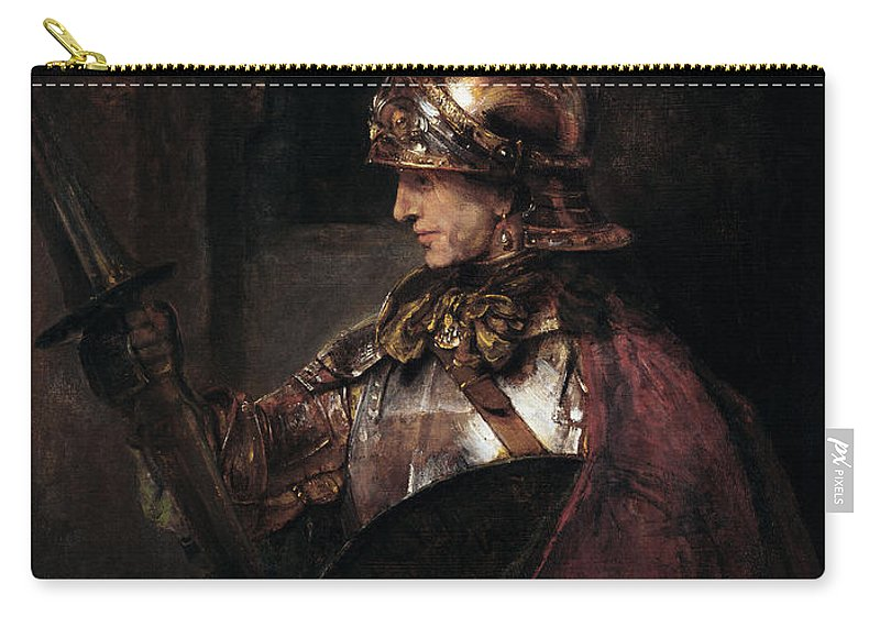 Male Carry-all Pouch featuring the painting A Man In Armour, 1655 by Rembrandt Harmensz. van Rijn
