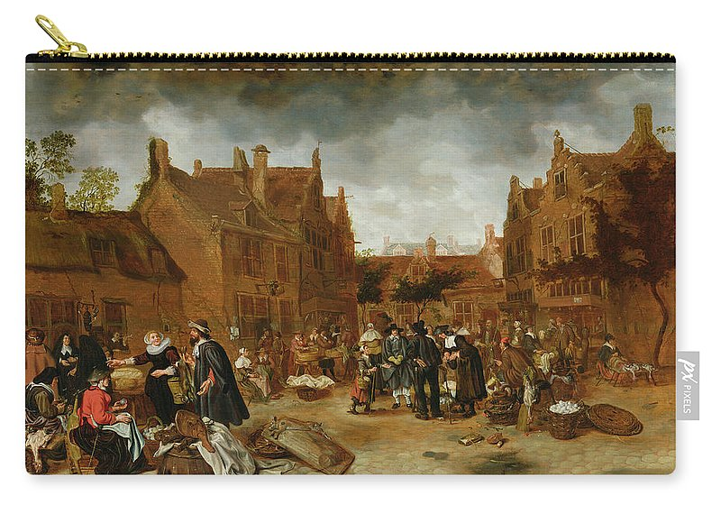 Market Carry-all Pouch featuring the painting A Marketplace In Winter, 1653 by Sybrandt van Beest