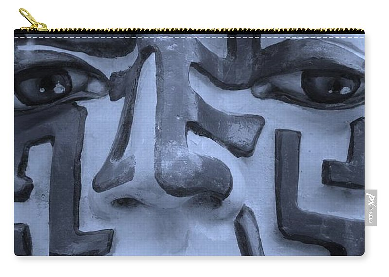 Maze Carry-all Pouch featuring the photograph A Maze Ing Face 1 Cyan by Rob Hans