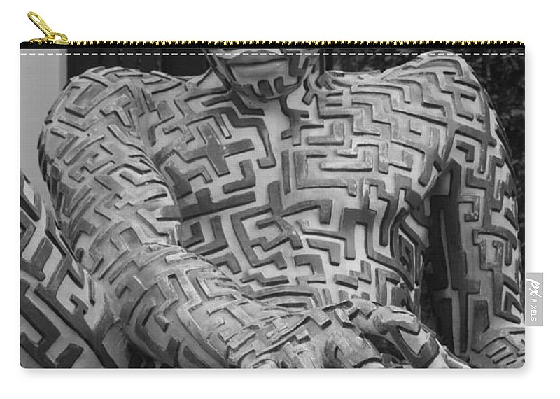 Maze Carry-all Pouch featuring the photograph A Maze Ing Man 1 Black And White by Rob Hans
