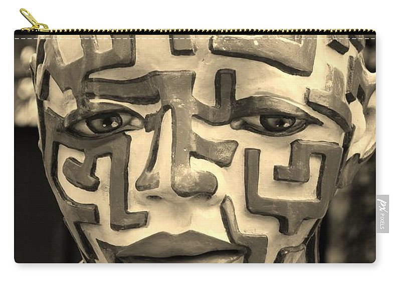 Maze Carry-all Pouch featuring the photograph A Maze Ing Man 3 Sepia by Rob Hans