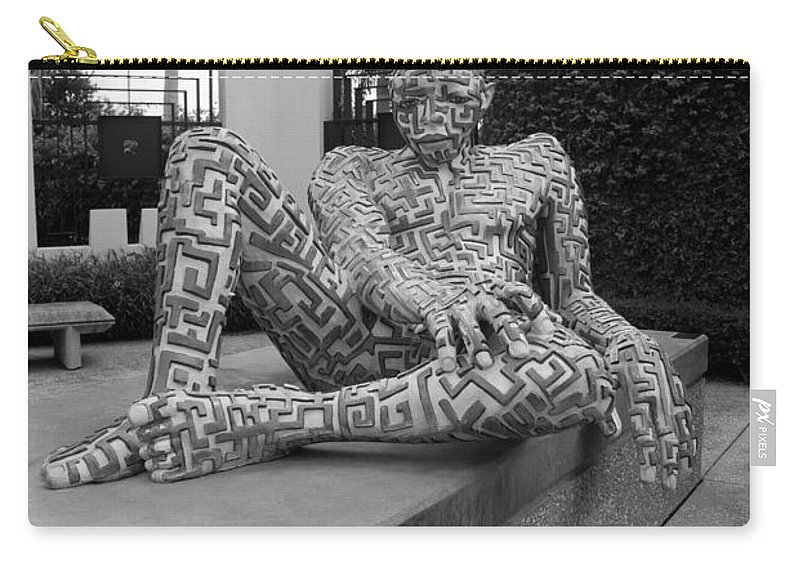 Maze Carry-all Pouch featuring the photograph A Maze Ing Man Black And White by Rob Hans