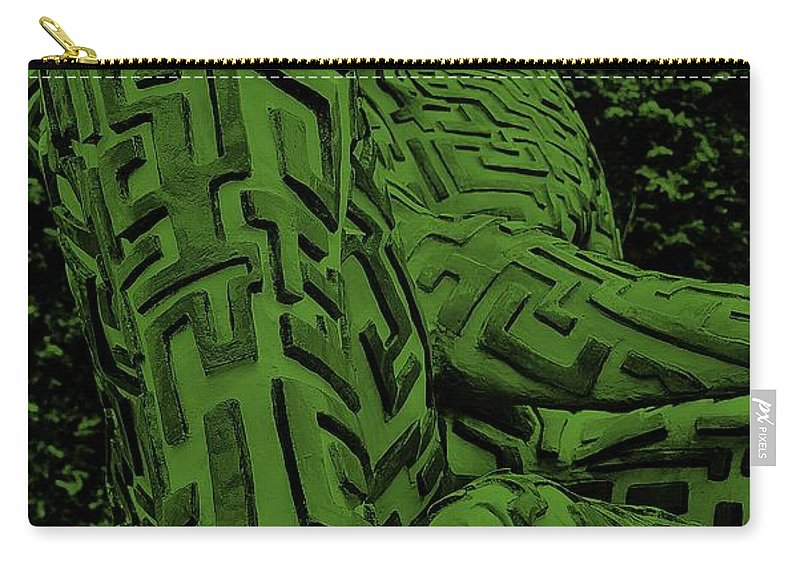 Maze Carry-all Pouch featuring the photograph A Mazing Man In Olive Green by Rob Hans