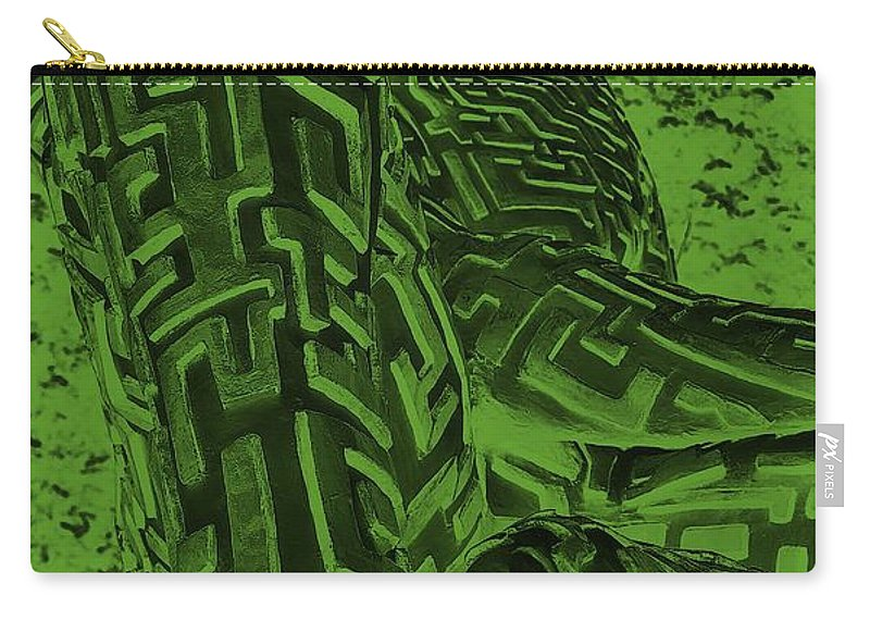 Maze Carry-all Pouch featuring the digital art A Mazing Negative Olive Green Man by Rob Hans