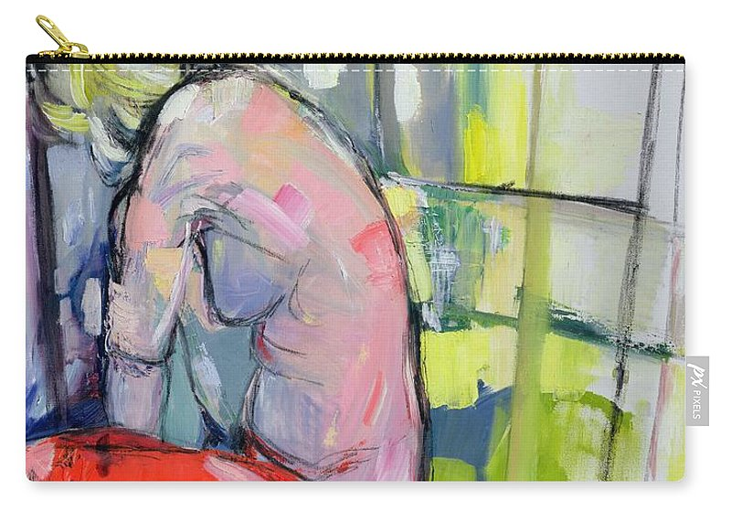 Female Carry-all Pouch featuring the painting A Meditation by Angie Kenber