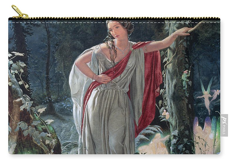Fairy Carry-all Pouch featuring the drawing A Midsummer Nights Dream Hermia by John Simmons