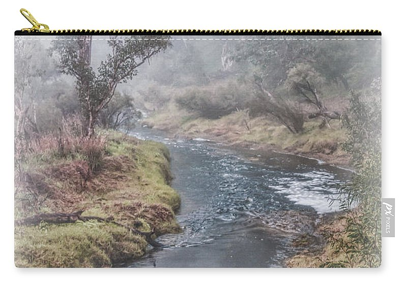 Waterway Carry-all Pouch featuring the photograph A Misty Morning In Bridgetown by Elaine Teague