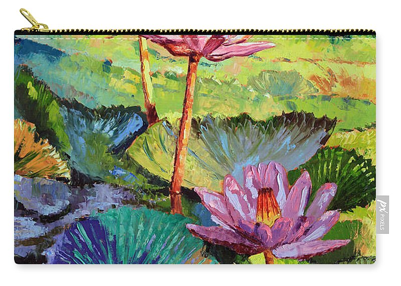 Water Lilies Carry-all Pouch featuring the painting A Moment In Sunlight by John Lautermilch