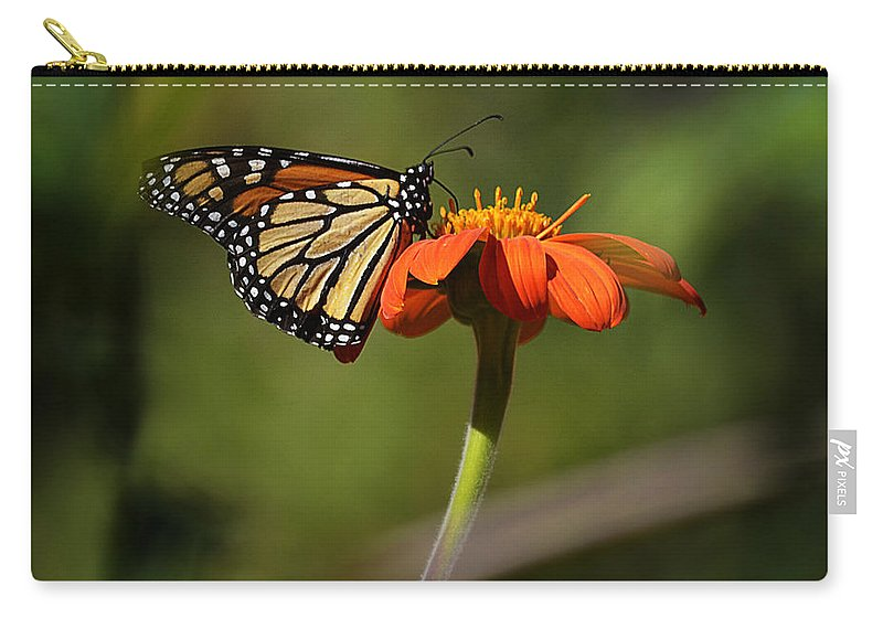 Papillon Carry-all Pouch featuring the photograph A Monarch Butterfly 1 by Xueling Zou