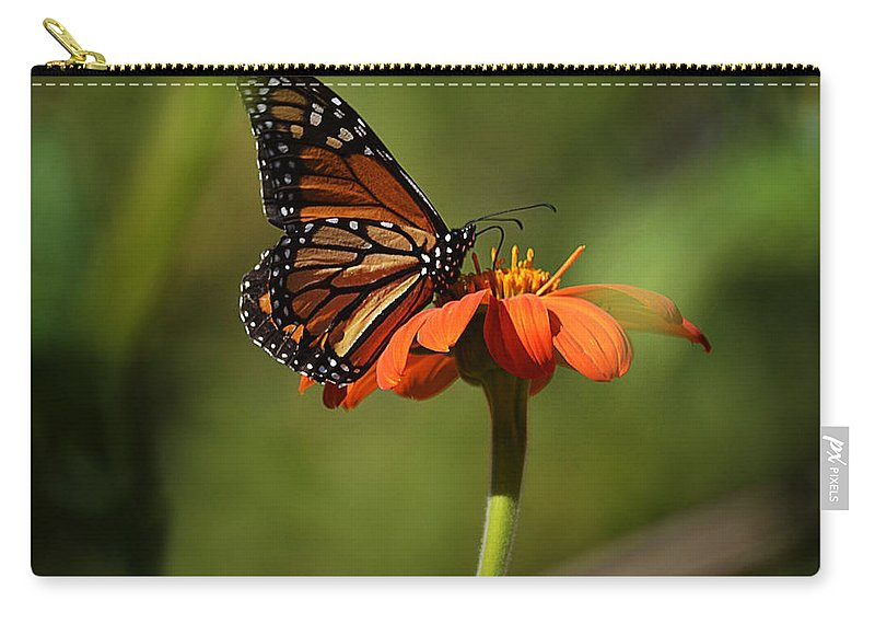 Papillon Carry-all Pouch featuring the photograph A Monarch Butterfly 2 by Xueling Zou