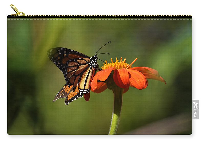 Papillon Carry-all Pouch featuring the photograph A Monarch Butterfly 3 by Xueling Zou