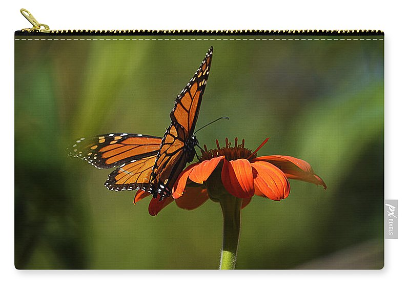 Papillon Carry-all Pouch featuring the photograph A Monarch Butterfly 4 by Xueling Zou