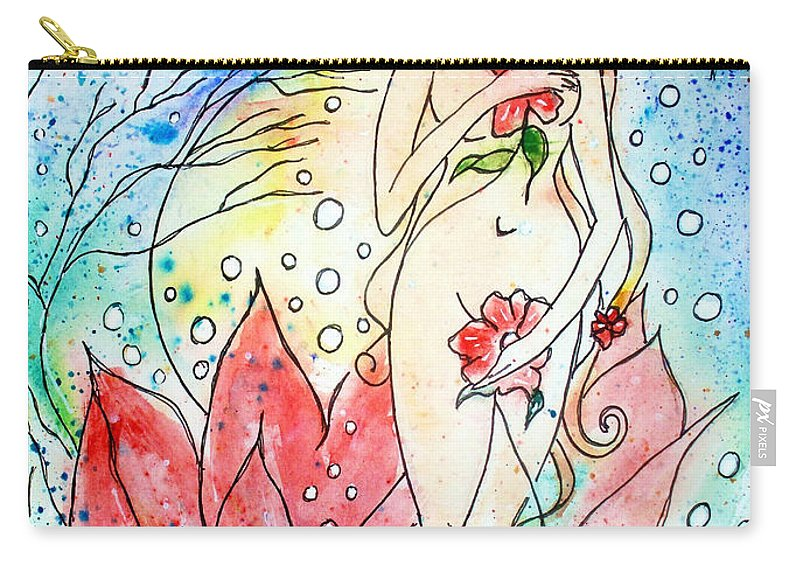 Female Figure Carry-all Pouch featuring the painting A New Birth by Robin Monroe