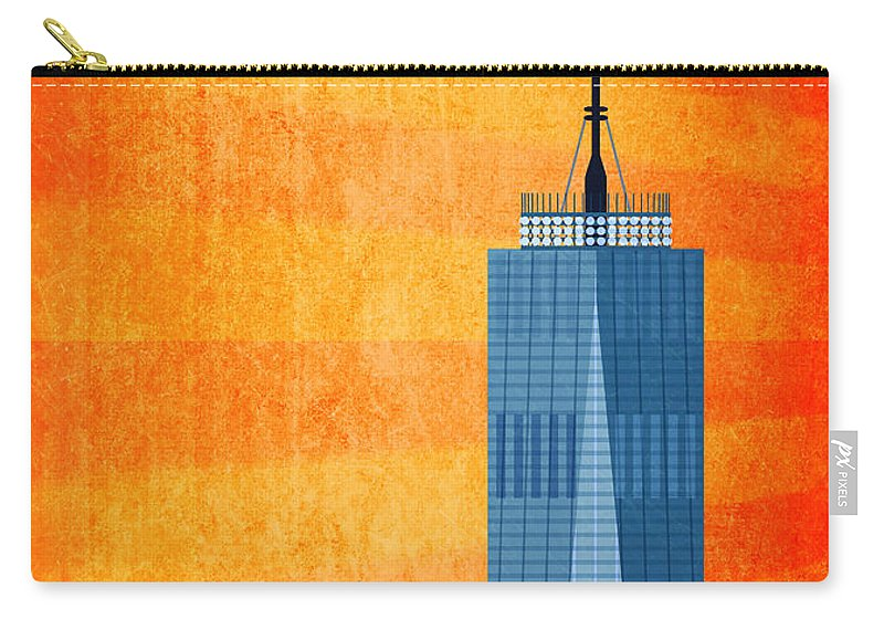 World Trade Center Illustration Carry-all Pouch featuring the digital art A New Day - World Trade Center One by Nishanth Gopinathan